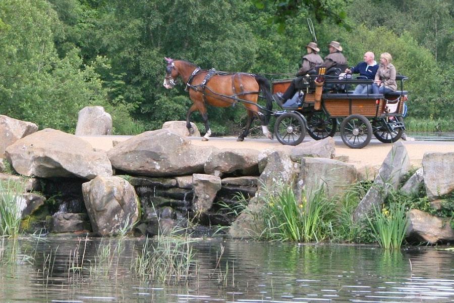Carriage travelling past Virginia Water lake
